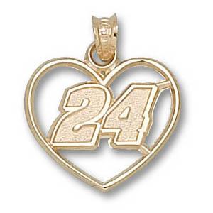 Jeff Gordon No. 24 3/4in 14k Heart Pendant
