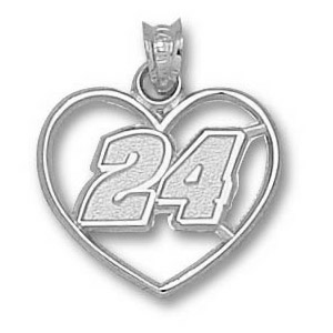 Jeff Gordon No. 24 3/4in Sterling Silver Heart Pendant