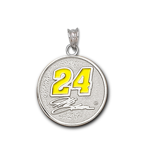 Sterling Silver 3/4in Jeff Gordon Round Enamel Pendant