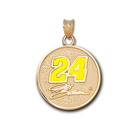 10kt Yellow Gold 3/4in Jeff Gordon Round Enamel Pendant