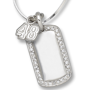 Sterling Silver #48 Jimmie Johnson Mini Dog Tag Necklace