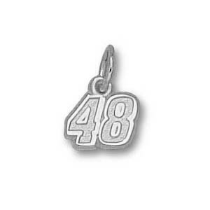 Sterling Silver 1/4in Jimmie Johnson No. 48 Charm