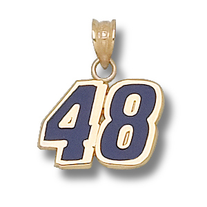 10kt Yellow Gold 7/16in Jimmie Johnson #48 Enamel Charm
