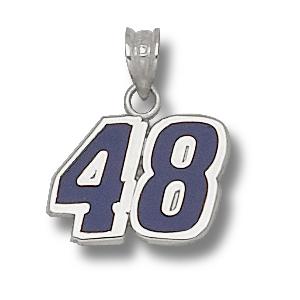 Sterling Silver 7/16in Jimmie Johnson #48 Enamel Charm