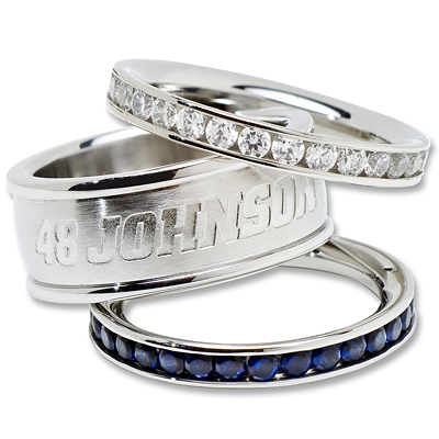 Jimmie Johnson Logo Crystal Stacked Ring Set