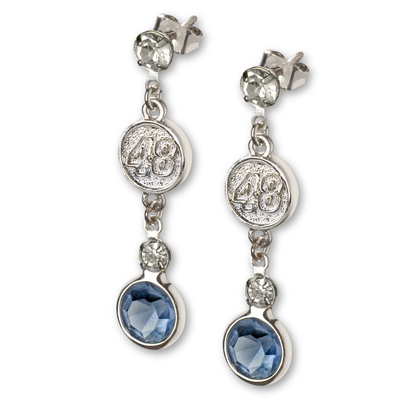 Jimmie Johnson Crystal Logo Earrings