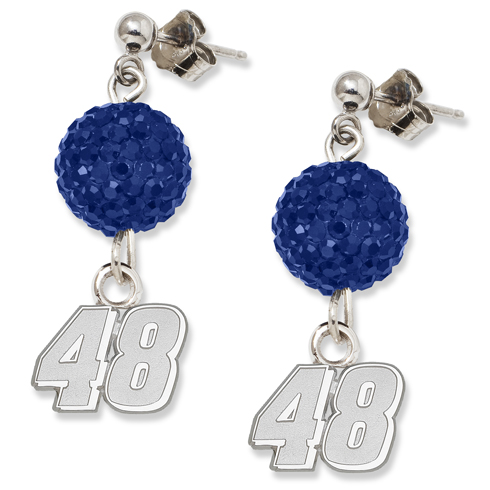 Sterling Silver Jimmie Johnson Crystal Ovation Earrings