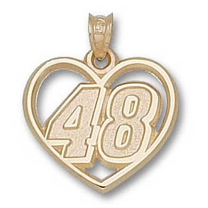 Jimmie Johnson No. 48 3/4in 10k Heart Pendant