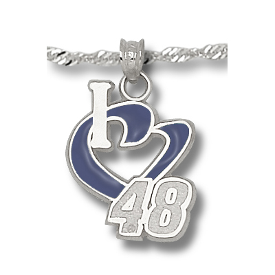 Sterling Silver I Love 48 Enamel Pendant on 18in Chain