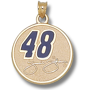 14kt Yellow Gold 3/4in Jimmie Johnson #48 Round Enamel Pendant