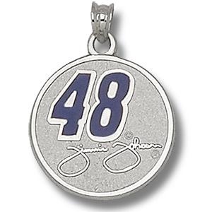 Sterling Silver 3/4in Jimmie Johnson #48 Round Enamel Pendant