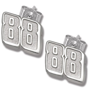 Sterling Silver 3/8in Dale Jr. #88 Post Earrings