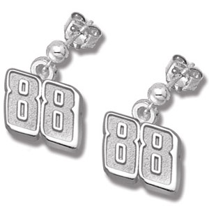 Sterling Silver 3/8in Dale Jr. #88 Post Ball Earrings
