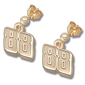 14kt Yellow Gold 3/8in Dale Jr. #88 Post Ball Earrings