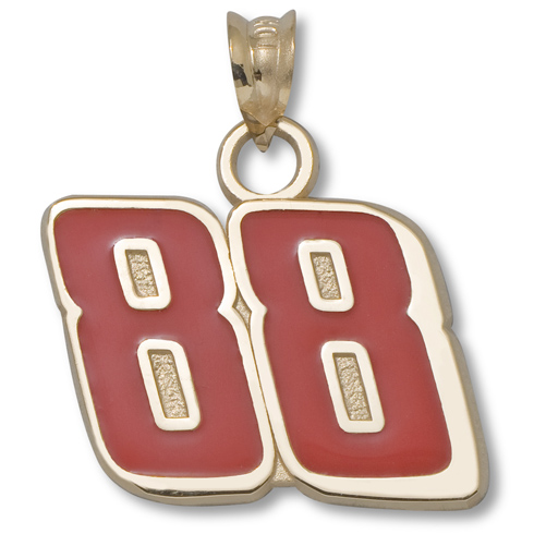 14kt Yellow Gold 9/16in Dale Jr. #88 Red Enamel Charm