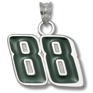 Sterling Silver 9/16in Dale Jr. #88 Green Enamel Charm