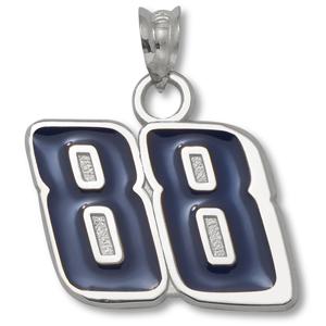 Sterling Silver 9/16in Dale Jr. #88 Blue Enamel Charm