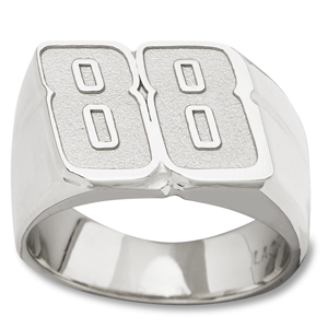Sterling Silver Driver Number 88 Men's Ring