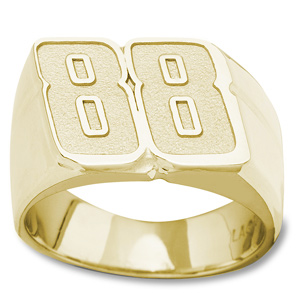 14kt Yellow Gold Driver Number 88 Men's Ring
