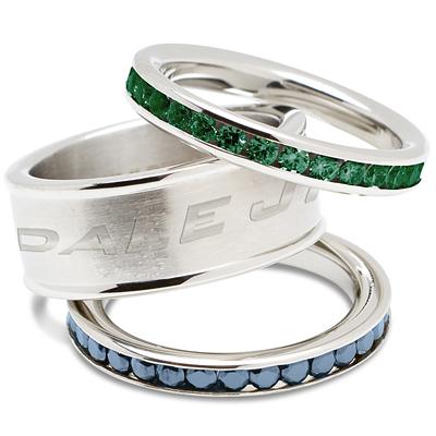 Dale Earnhardt Jr Logo Crystal Stacked Ring Set
