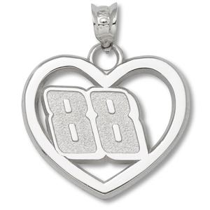 Sterling Silver 3/4in Dale Earnhardt Jr. #88 Heart Pendant