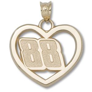 14kt Yellow Gold 3/4in Dale Earnhardt Jr. #88 Heart Pendant
