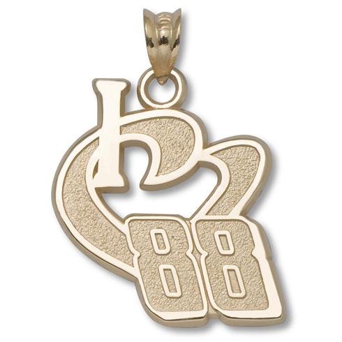 10kt Yellow Gold 3/4in I Love Driver 88 Pendant