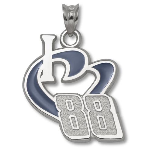 Sterling Silver 3/4in I Love 88 Blue Enamel Pendant