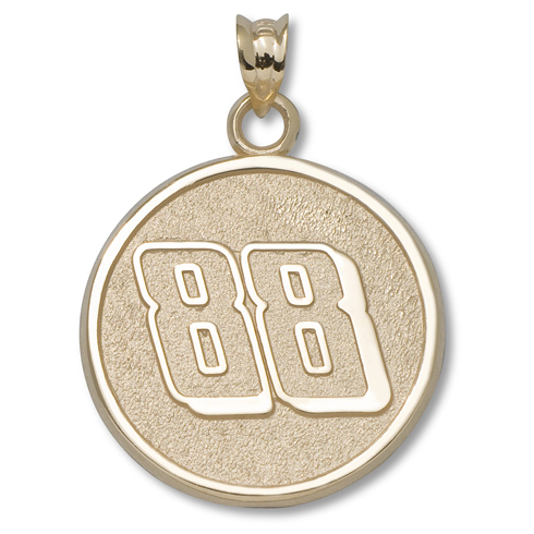 14kt Yellow Gold 3/4in Dale Earnhardt Jr. #88 Round Pendant