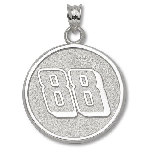 Sterling Silver 3/4in Dale Earnhardt Jr. #88 Round Pendant