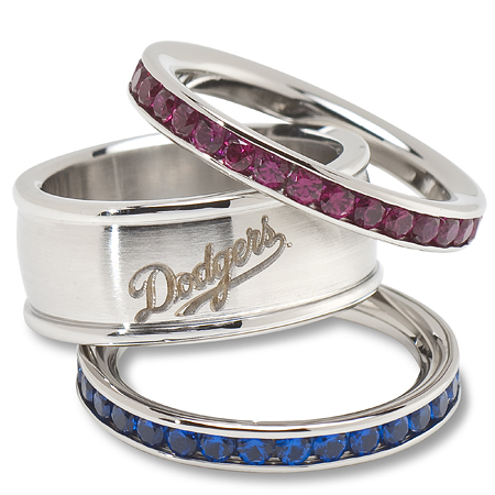 Los Angeles Dodgers Logo Crystal Stacked Ring Set