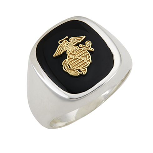 Sterling Silver USMC Ring with Eagle Globe and Anchor