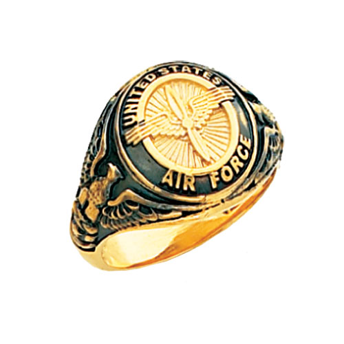 14k Yellow Gold U.S. Air Force Signet Ring with Black Enamel