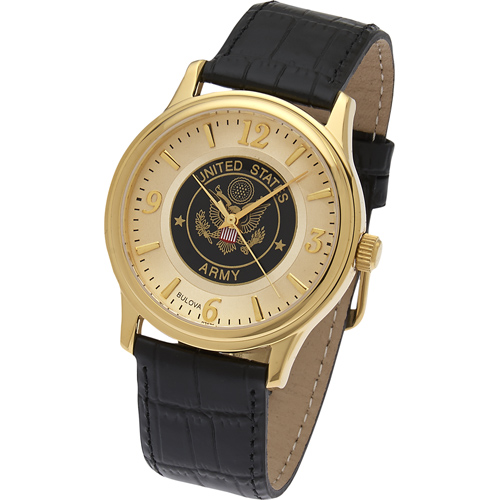 38mm Gold-tone Bulova United States Army Watch with Black Leather Strap
