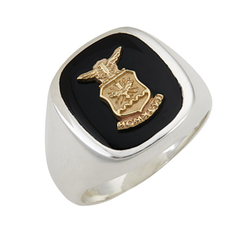 Sterling Silver Black Onyx U.S. Air Force Ring with Smooth Sides
