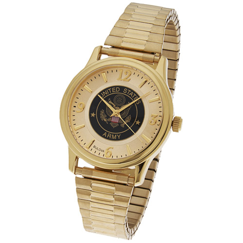 38mm Gold-tone Bulova United States Army Watch with Expansion Band