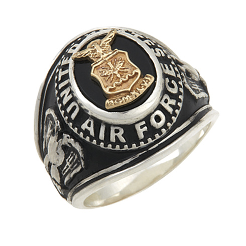 Sterling Silver Antiqued Black Onyx United States Air Force Ring with Gold Emblem