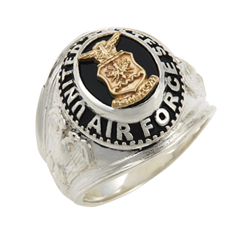 Sterling Silver Black Onyx United States Air Force Ring with Gold Emblem
