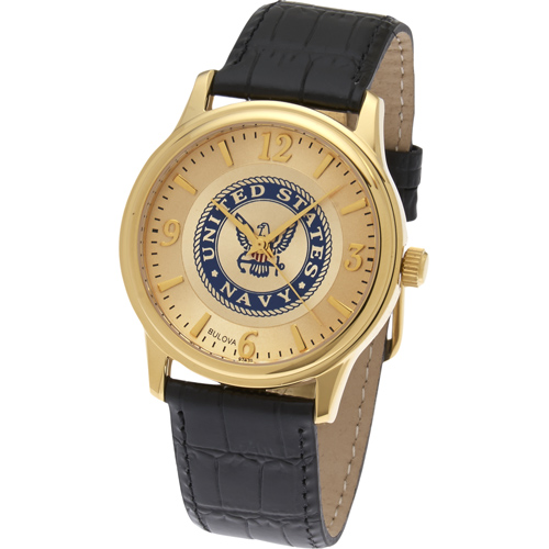 38mm Gold-tone Bulova United States Navy Watch with Black Leather Strap