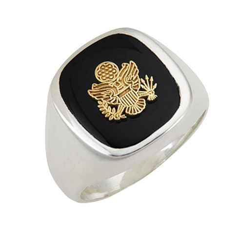 Sterling Silver Black Onyx United States Army Ring with Smooth Sides