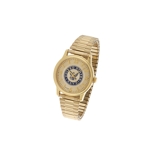 38mm Gold-tone Bulova United States Navy Watch with Expansion Band