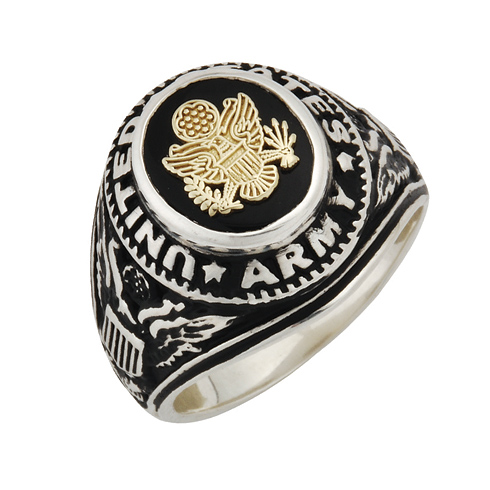Sterling Silver Antiqued Black Onyx US Army Ring with Gold Emblem