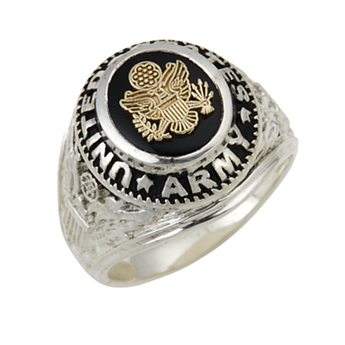 Sterling Silver Black Onyx United States Army Ring with Gold Emblem