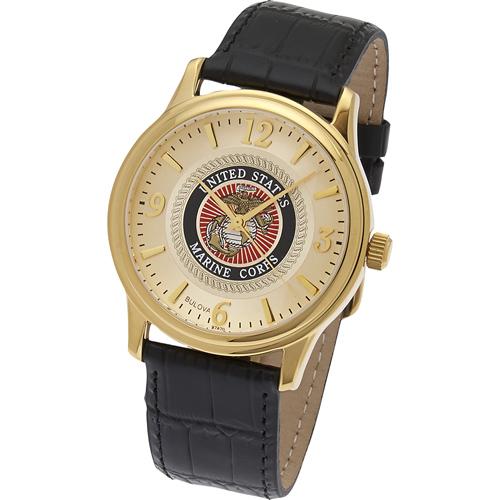 38mm Gold-tone Bulova U.S. Marine Corps Watch with Black Leather Strap