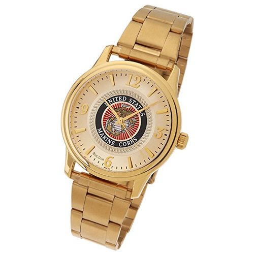 38mm Gold-tone Bulova United States Marine Corps Watch