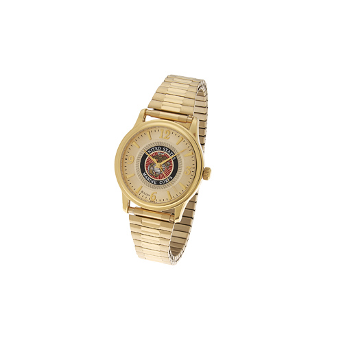 38mm Gold-tone Bulova United States Marine Corps Watch with Expansion Band