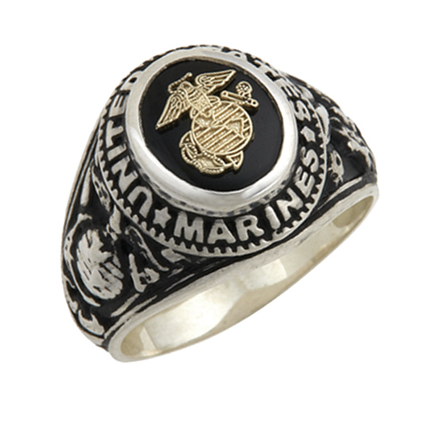 Sterling Silver Antiqued Onyx US Marines Ring with Gold Emblem