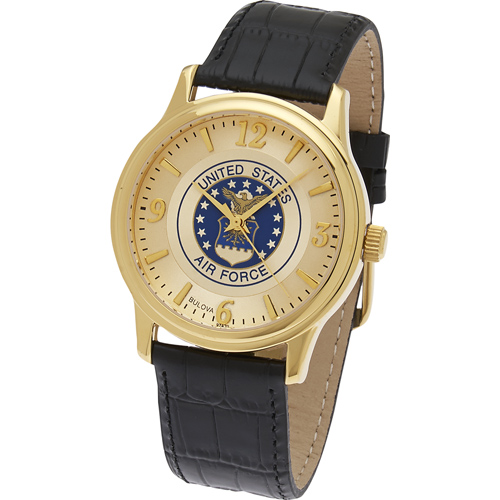 38mm Gold-tone Bulova U.S. Air Force Watch with Black Leather Strap