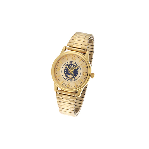 38mm Gold-tone Bulova United States Air Force Watch with Expansion Band