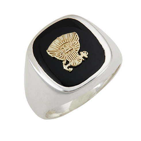 Sterling Silver Black Onyx United States Navy Ring with Smooth Sides